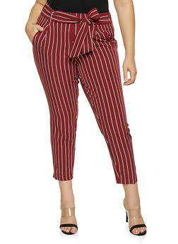 Plus Size Striped Tie Front Pants - 3861056570058