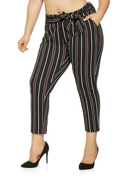 Plus Size Striped Tie Front Pants - 3861056570061