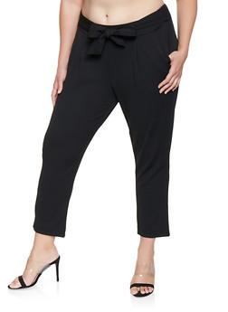Plus Size Tie Front Dress Pants - 3861056570077