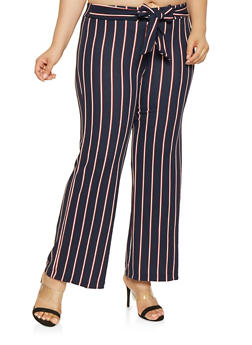 Plus Size Striped Palazzo Pants - 3861056570099