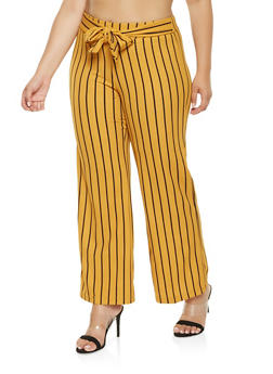 Plus Size Striped Tie Front Palazzo Pants - 3861056570499