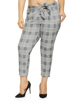 Plus Size Tie Waist Plaid Pants - 3861056570552
