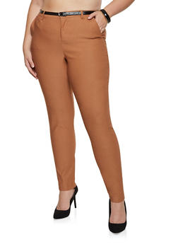 Plus Size Belted Stretch Dress Pants - 3861056570811