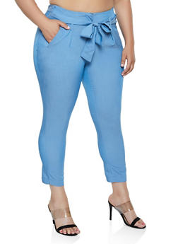 Plus Size Tie Front Dress Pants - 3861056571283
