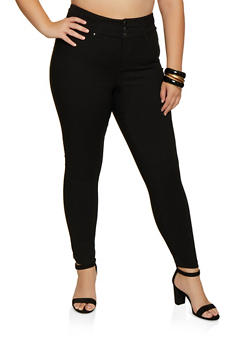 Plus Size 3 Button Stretch Pants - 3861056572621