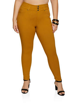 Plus Size 3 Button Stretch Pants - 3861056572621