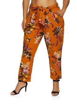 Plus Size Floral Crepe Knit Pants - 3861056574312