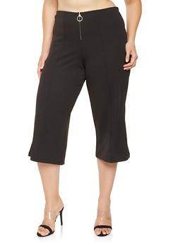 Plus Size Cropped Dress Pants - 3861056574329