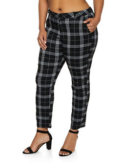 Plus Size Plaid Two Pocket Dress Pants - 3861056574433