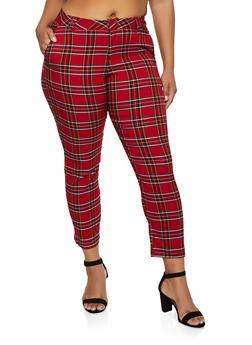 Plus Size Plaid Two Pocket Dress Pants - 3861056574433