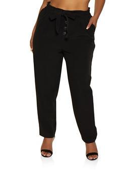 Plus Size Tie Paper Bag Waist Dress Pants - 3861056574607