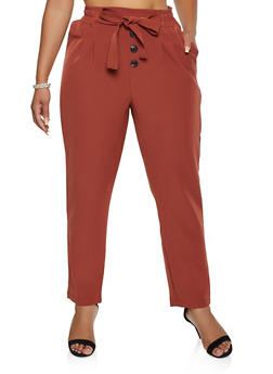 Plus Size Tie Paper Bag Waist Dress Pants - 3861056574607