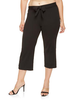 Plus Size Tie Front Cropped Dress Pants - 3861056574798