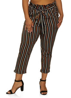 Plus Size Tie Waist Striped Dress Pants - 3861056576089