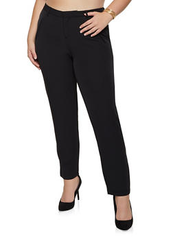 Plus Size Faux Pocket Dress Pants - 3861056577031