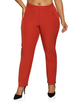 Plus Size Faux Pocket Dress Pants - 3861056577031