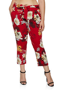 Plus Size Tie Front Floral Dress Pants - 3861056577138