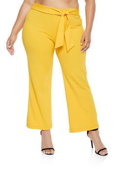 Plus Size Crepe Tie Front Dress Pants - 3861056577991