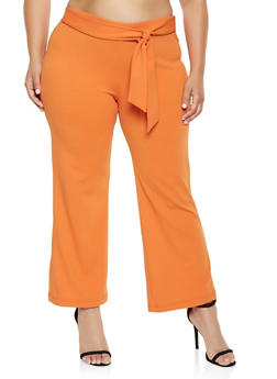 Plus Size Crepe Tie Front Dress Pants - 3861056577991