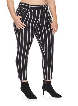 Plus Size Striped Tie Waist Dress Pants - 3861056578053