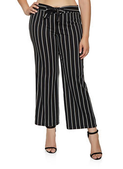 Plus Size Crepe Striped Palazzo Pants - 3861056579337