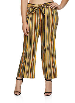 Plus Size Vertical Stripe Palazzo Pants - 3861056579338