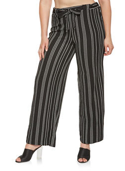 Plus Size Striped Palazzo Pants - 3861060581100
