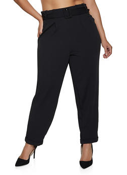 Plus Size Textured Knit Paper Bag Waist Pants - 3861060581306