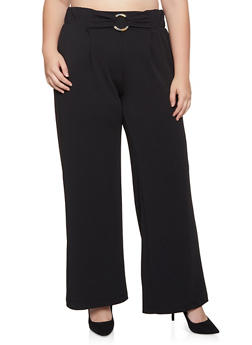 Plus Size O Ring Textured Knit Pants - 3861060581308