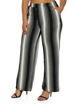 Plus Size Tassel Striped Palazzo Pants - 3861060581312