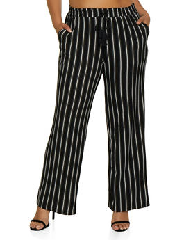 Plus Size Textured Knit Striped Pants - 3861060581316