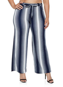 Plus Size Striped Tie Waist Palazzo Pants | 3861060581331 - 3861060581331