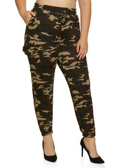 Plus Size Soft Knit Camo Cargo Joggers - 3861060582374