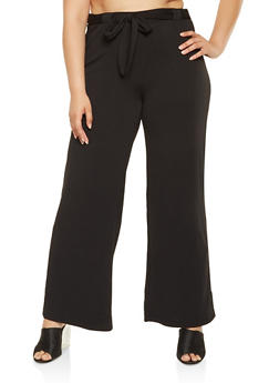 Plus Size Tie Front Dress Pants - 3861060583108