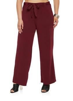 Plus Size Tie Front Dress Pants - 3861060583108