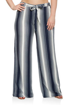 Plus Size Striped Palazzo Pants - 3861060583113