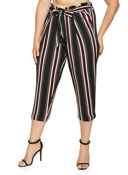 Plus Size Striped Paper Bag Waist Pants - 3861060583114