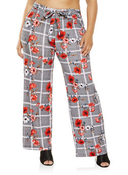 Plus Size Floral Plaid Palazzo Pants - 3861060583323
