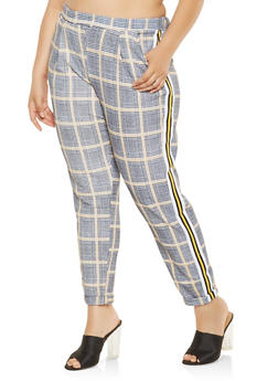 Plus Size Side Stripe Plaid Pants - 3861060583356
