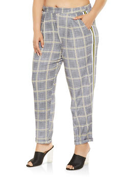 Plus Size Side Stripe Plaid Pants - 3861060583358