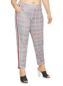 Plus Size Cuffed Plaid Dress Pants - 3861060583364
