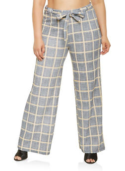 Plus Size Plaid Tie Front Pants - 3861060583561