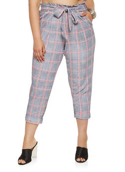 Plus Size Plaid Paper Bag Waist Pants - 3861060583640