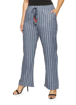 Plus Size Striped Wide Leg Pants - 3861060586631