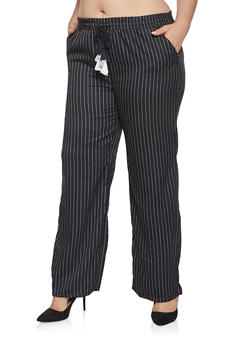 Plus Size Striped Dress Pants - 3861060586636