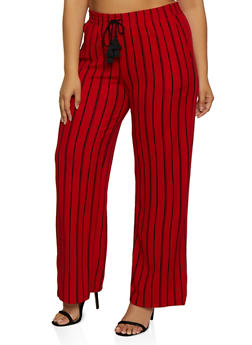 Plus Size Striped Tassel Palazzo Pants - 3861060587433