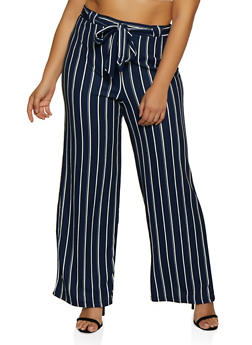 Plus Size Textured Striped Tie Front Palazzo Pants - 3861060588532
