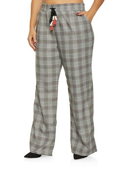 Plus Size Plaid Dress Pants - 3861060588547