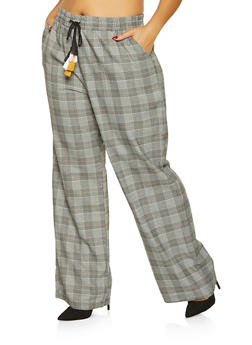 Plus Size Plaid Dress Pants - 3861060588548