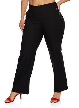 Plus Size Button Detail Flared Dress Pants - 3861062703570